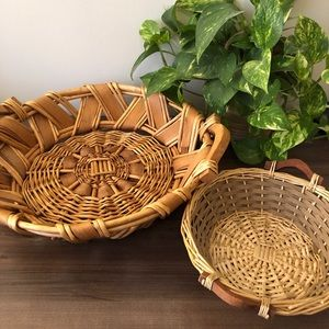 2 Vintage Boho Round Baskets 🧺